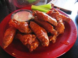 Buffalo wings, bleu cheese and celery