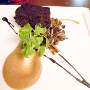 Oxtail terrine brownie with mushrooms