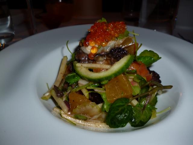 woodbridge smoked trout, tea smoked oysters, morcilla, apple and radish salad