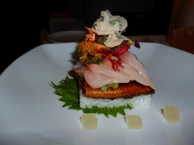 hiramasa kingfish sashimi, sweet grilled eel,  pickled seaweed, shiso, and finger lime salad, yuzu jelly