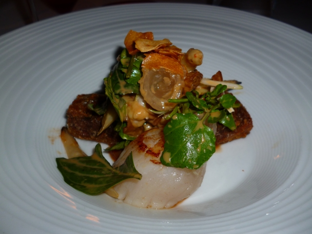 Sichuan spiced duck, seared sea scallops, asparagus, lychee and smoked eggplant sambal