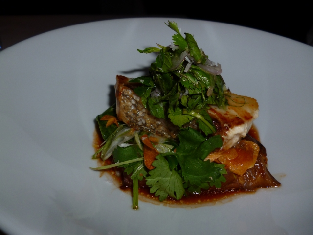 honestly...don't remember but it tasted like an upscale version of the steamed seabass with ginger and cilantro you have a Chinese banquets