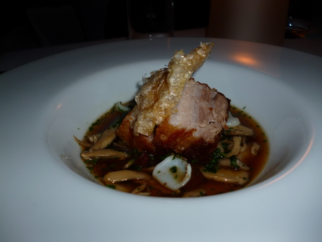 soy braised organic pork belly, squid, smoked bacon, mushrooms, gremolata