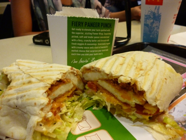 My first meal in India...Mc Spicy Paneer!